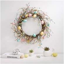 "Glitzhome 22"" D Easter Eggs Wreath Spring Eggs & Berries Front Door Wall Decor Holiday Decoration"