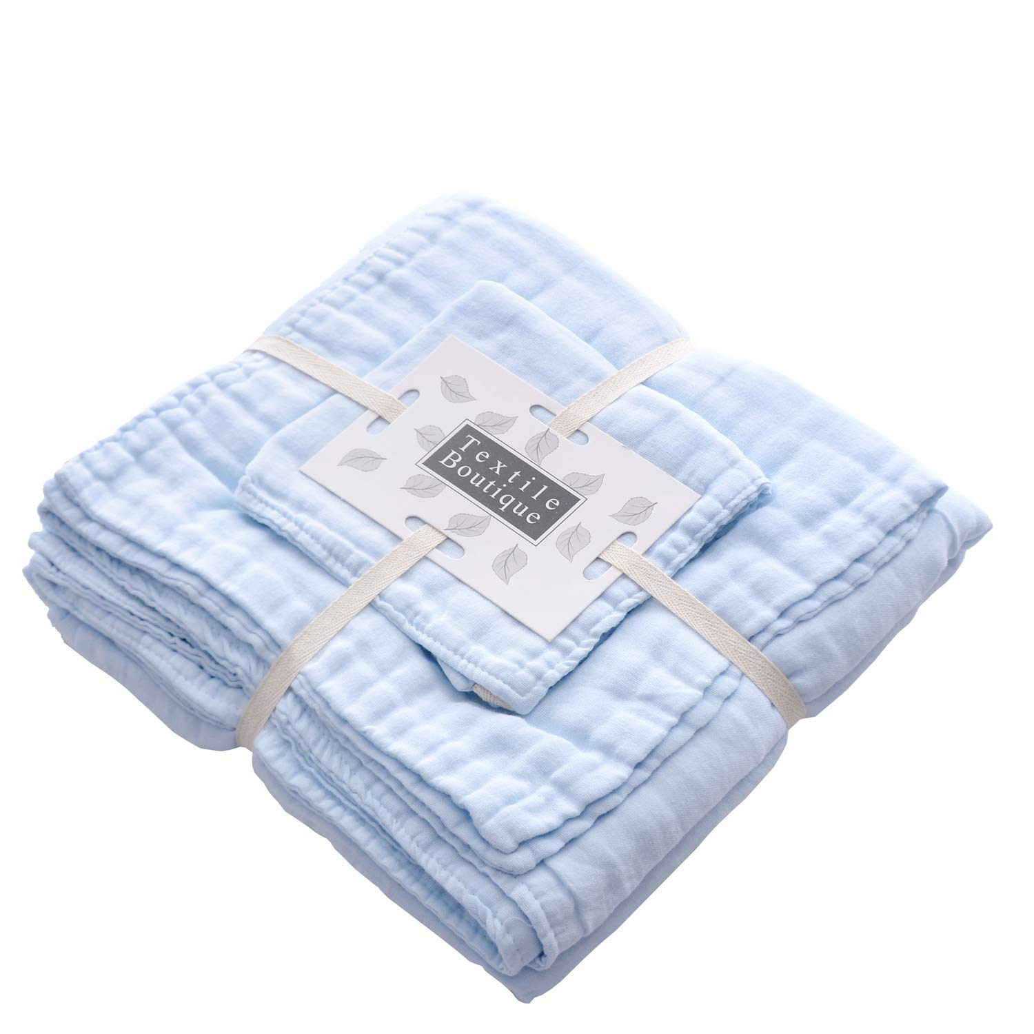 Baby Bath Towels and Washcloths Set Also for Baby Swaddle Blanket and Baby Muslin Face Cloth, Super Soft Muslin Cotton - Ideal for Baby Care Gift Sets by MUKIN((3 PC Value Pack) Blue
