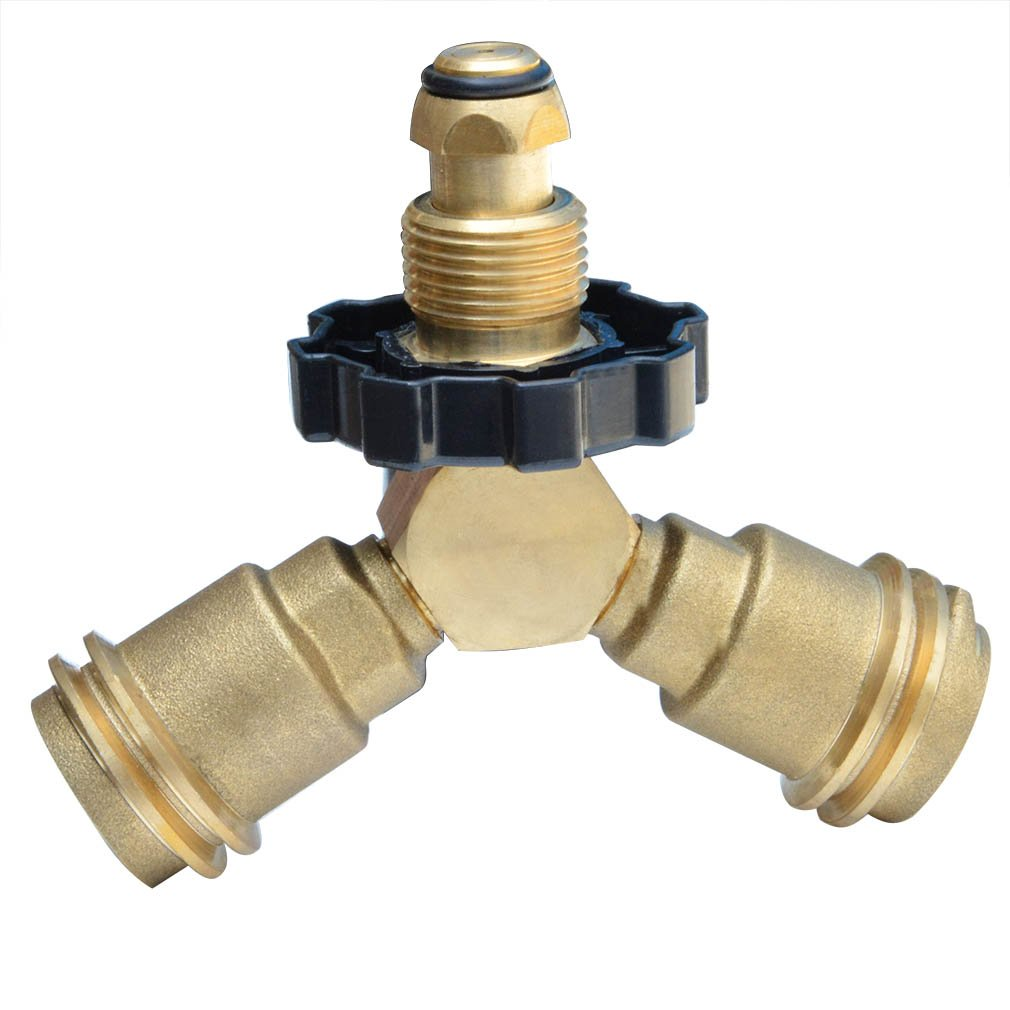 onlyfire 5039 POL Brass Propane Gas Fitting Tee Adapter Splitter Fits for Propane Appliances, Heater, BBQ Grill, Camper, Cylinder