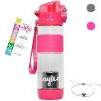 DRINK KATY'S | Tea Infuser Tumbler for Loose Leaf Tea + 14k Gold Dipped Love Bracelet | Eco Friendly Hot or Iced Tea Sport Travel Bottle - 16oz - (Partea Pink)