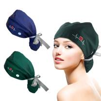 2 Pcs Long Hair Working Cap with Buttons & Sweatband, Ribbon Tie Ponytail Working Hat, One Size Elastic Head Cover for Women Navy, Green