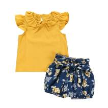 itkidboy Toddler Baby Girl Outfits Short Sleeve Ruffle Shirt and Floral Overall Skirt Suspender Summer Clothes Set