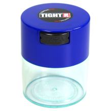 Tightvac - 1/2 oz to 3 ounce Airtight Multi-Use Vacuum Seal Portable Storage Container for Dry Goods, Food, and Herbs - Dark Blue Cap & Clear Body