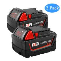 6000mAh 18 Volt Battery Replacement for Milwaukee 18v Lithium-ion XC Battery 48-11-1840 48-11-1815 48-11-1820 48-11-1850 Cordless Power Tool (2-Pack)