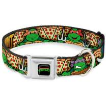 Buckle-Down Seatbelt Buckle Dog Collar - Classic TMNT Turtle Poses/Pizza Slices
