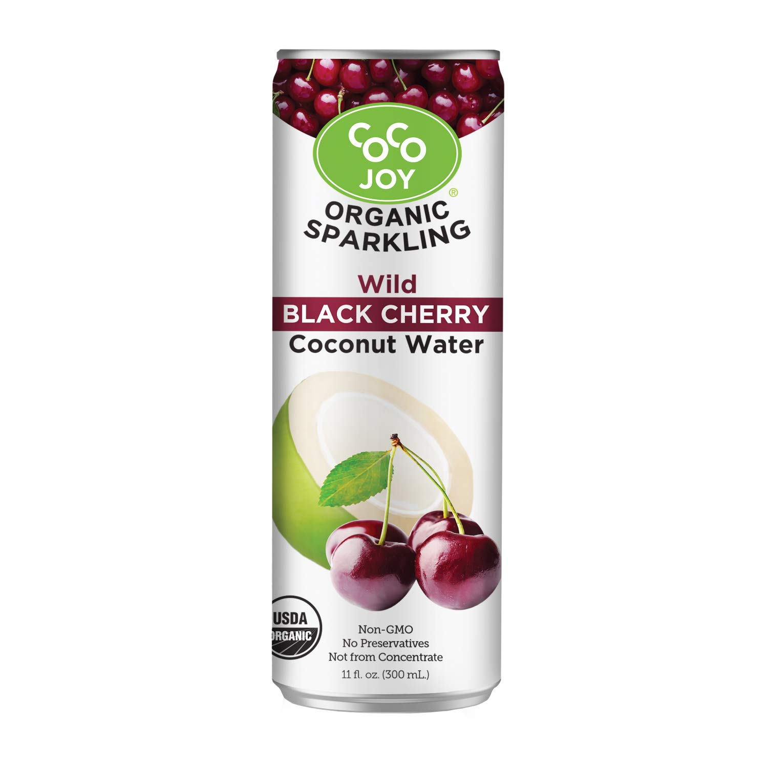 100% Organic Premium Sparkling Coco Joy Coconut Water 11 Fl oz Can - Wild Black Cherry - 12 Pack - Refreshing, Non-GMO, Packed with Electrolytes, No Preservatives