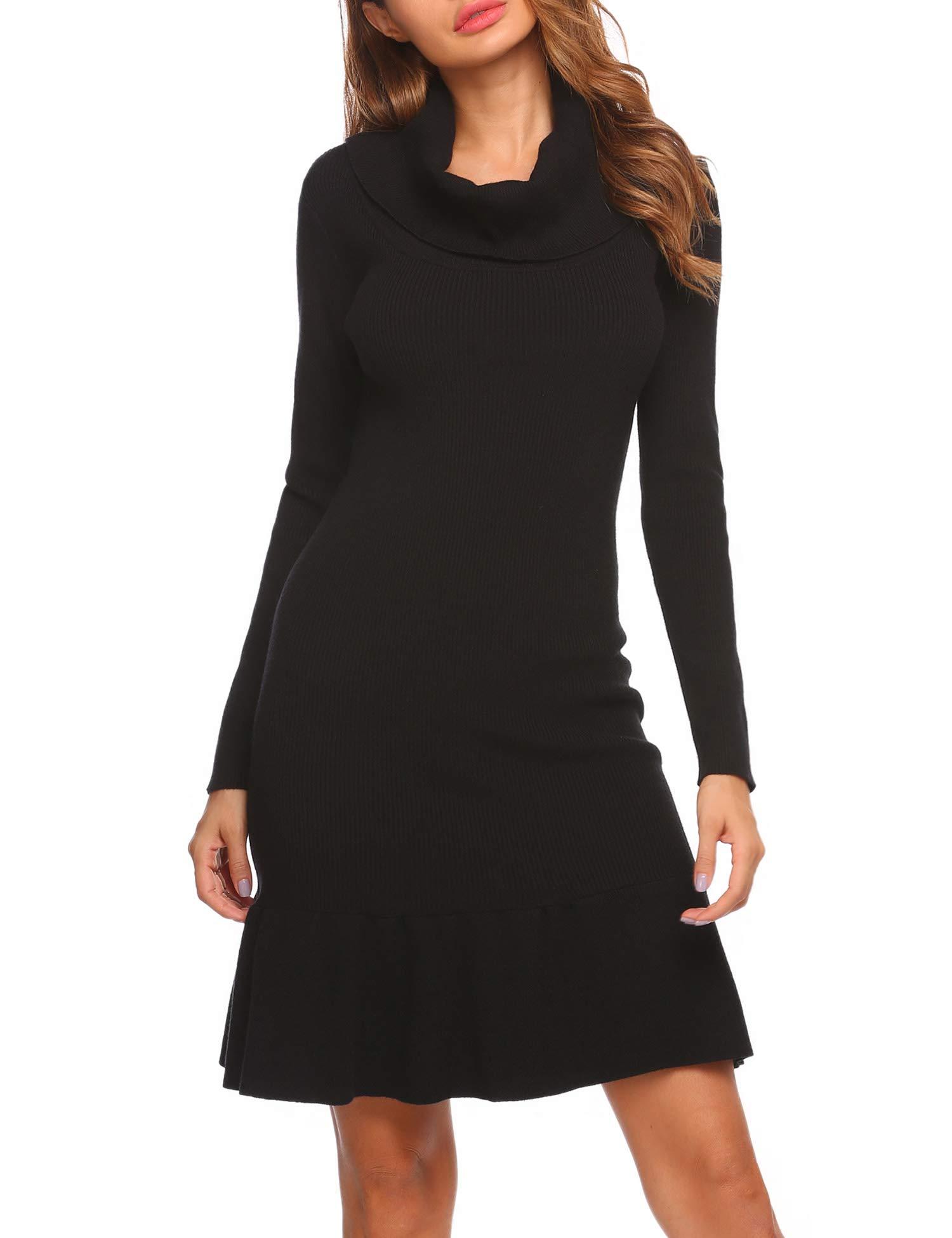 Zeagoo Basic Sweater Dress Women's Long Sleeve Turtleneck Ribbed Elbow Warm Knit Sweater Dress Black XX-Large