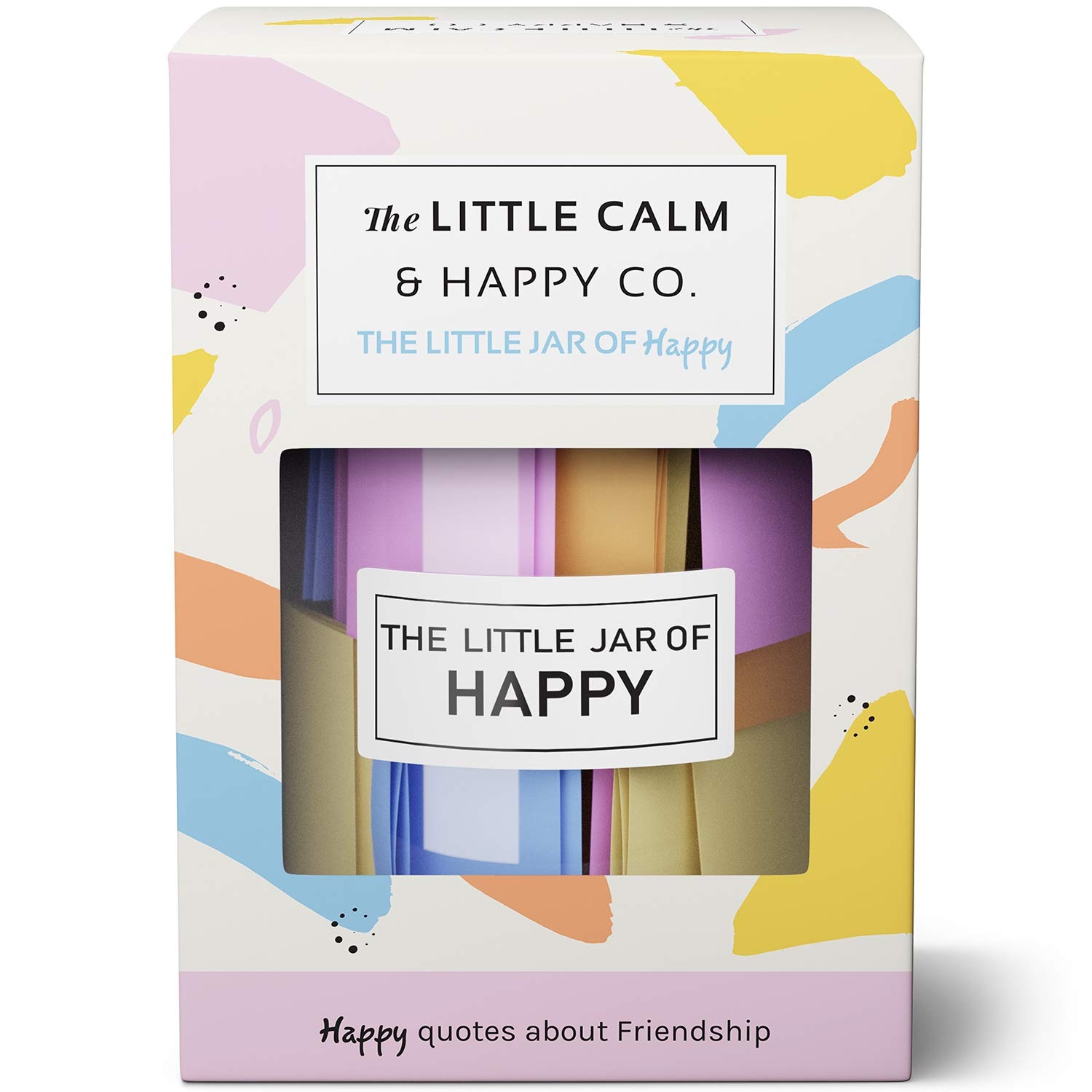 The Little Calm and Happy Company Happy Friendship Quotes Jar (30 Notes) Fun, Inspirational, Motivational Messages   Cute, Colorful Paper Slip Notes   Incl. Gift Box
