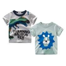AMMENGBEI 2PCS Pack Toddler Kids T-Shirt Cute Cartoon Short Sleeve Dinosaur Lion Print Top Summer Blouse 1-6T