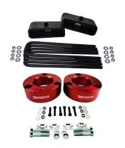 """American Automotive Full Lift Kit Compatible 2007-2018 Silverado & Sierra 1500 2.5"""" Front Lift Strut Spacers + 1.5"""" Rear Lift Blocks + Square Bend U-Bolts w/Differential Drop Kit 4WD (Red)"""