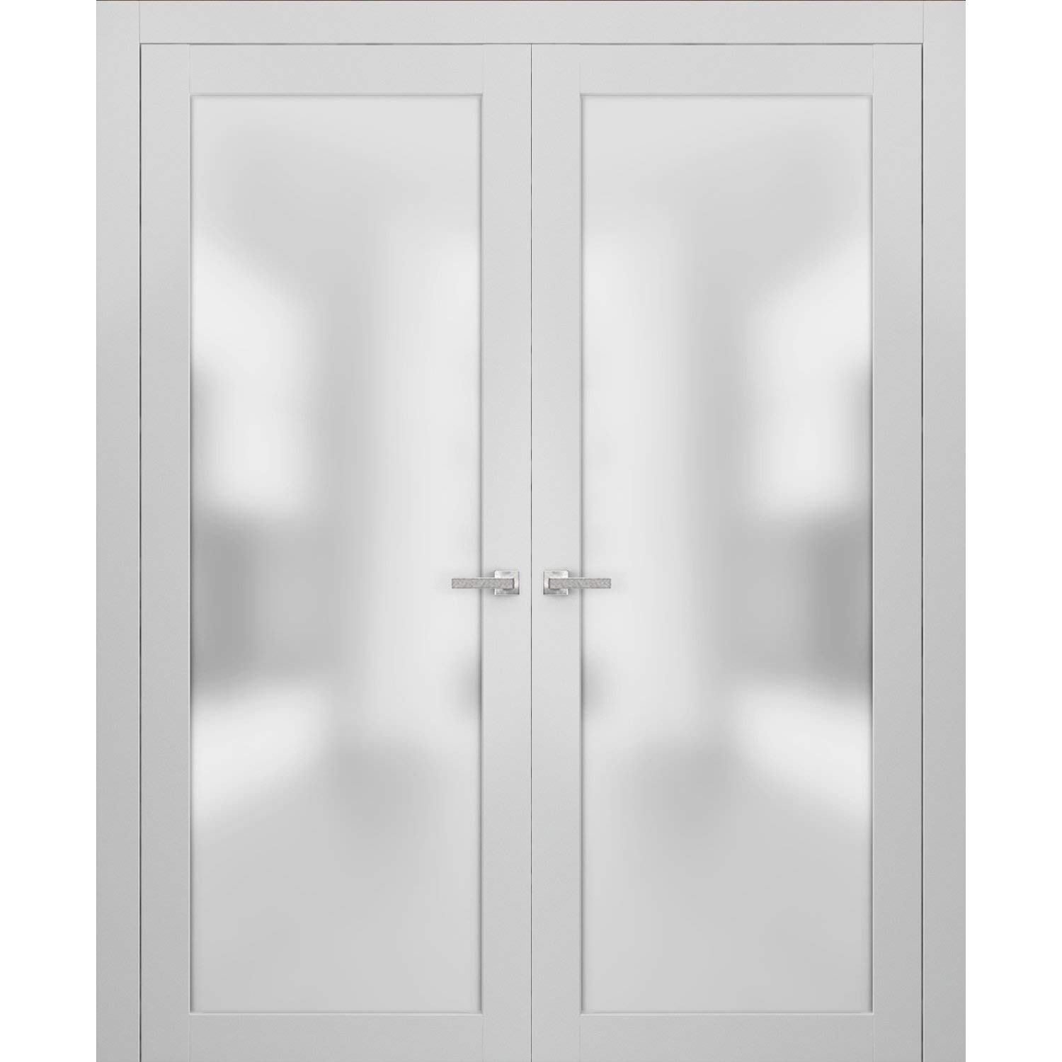 French Double Frosted Glass Doors 64 x 80 | Planum 2102 White Silk | Frames Trims Satin Nickel Hardware | Bedroom Bathroom Solid Core Wooded Panels