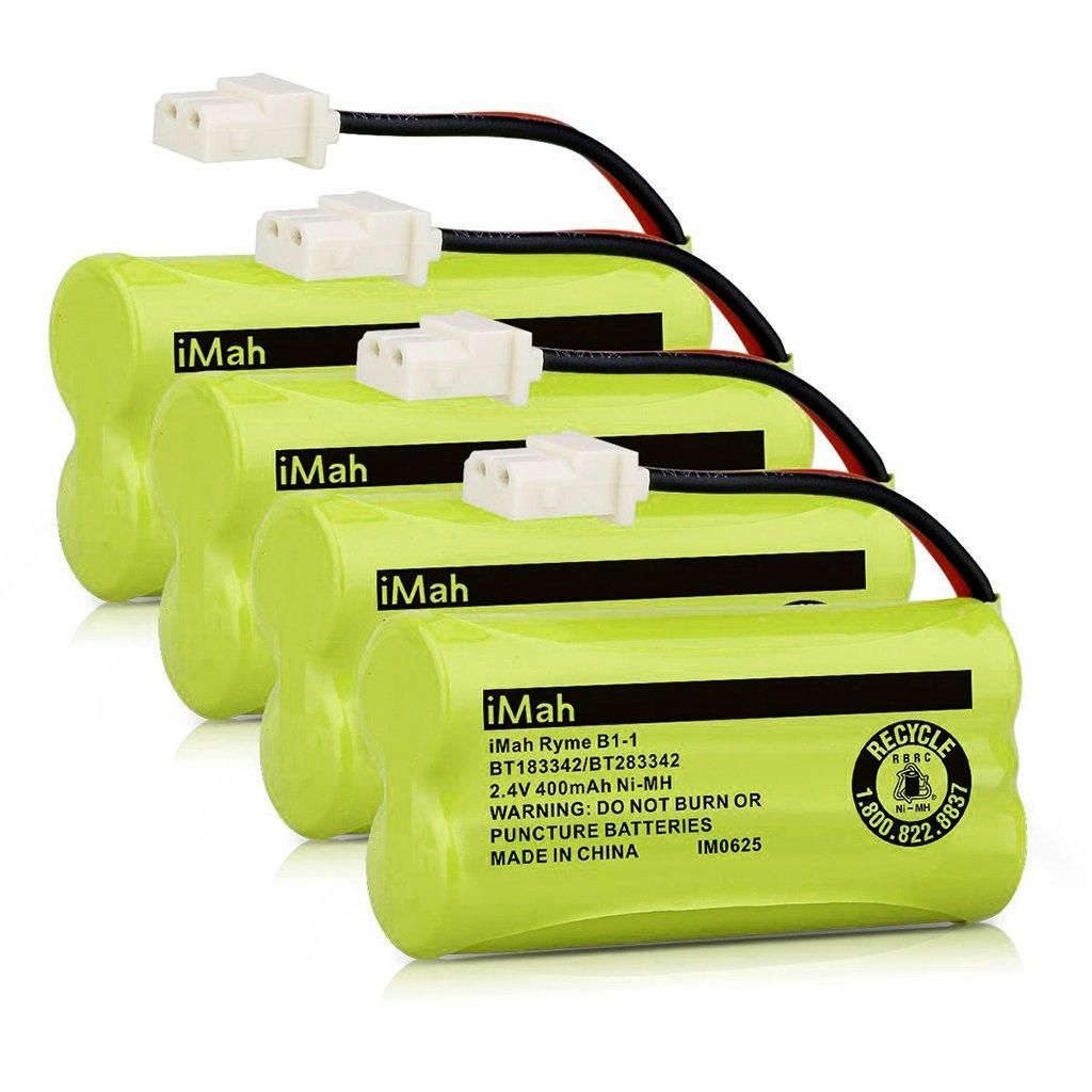 iMah BT183342/BT283342 BT166342/BT266342 BT162342/BT262342 Battery Compatible with VTech CS6114 CS6419 CS6719 CS6719-2 AT&T EL52300 CL80112 Cordless Handsets (Pack of 4)