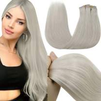 Clip in Human Hair Extensions, LaaVoo Platinum Blonde Clip in Extensions 16 Inch 7Pcs/120G Color #60 Silky Straight White Blonde Hair Extensions Clip in Human Hair Double Weft