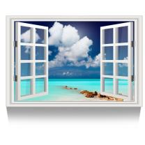 Kreative Arts - Canvas Print Wall Art Window Frame Style Seascape Picture Wall Decor Stretched Giclee Print Gallery Wrap Modern for Home Decoration Ready to Hang (24''x36'', 13.Blue Sea)