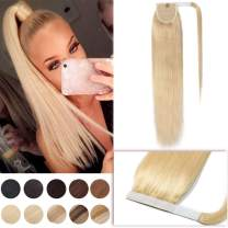 22 Inch Magic Paste Wrap Around Ponytail Extensions Human Hair Binding Wrap Up Pony Tail Hairpiece for Women Stragiht One Piece #613 Bleach Blonde