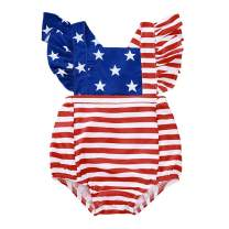 4th of July Infant Toddler Baby Girl Independence Day Outfit American Flag Ruffle Romper Girls Gift Outfit