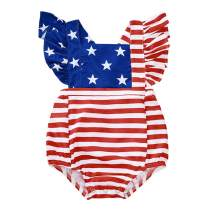 SEVEN YOUNG Independence Day Outfits Baby Girls Stars Stripes Romper Bodysuit Sleeveless Playsuit Clothes 4th of July