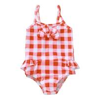 Kids Toddler Baby Girl Dinosaur Sunflower Bikini Swimsuit One-Piece Beachwear Plaid Ruffled Bathing Suit Swimwear