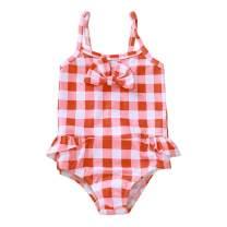 Kids Toddler Baby Girl Dinosaur Bikini Swimsuit One-Piece Beachwear Plaid Ruffled Bathing Suit Swimwear
