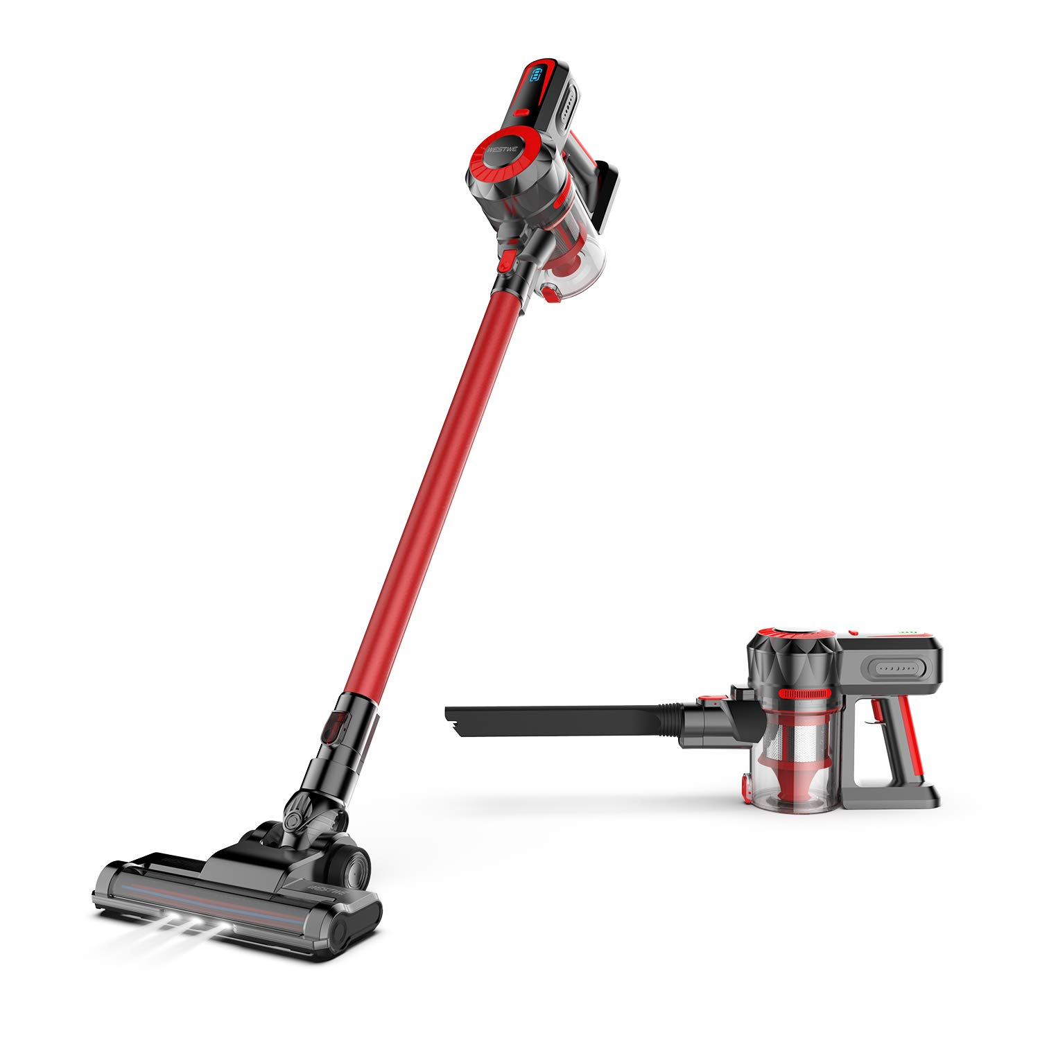Cordless Vacuum, WESTWE Stick Vacuum Cleaner 12KPa Powerful 2 in 1 Stick Handheld Vacuum with Rechargeable Lithium Ion Battery for Floor Carpet Pet Hair, Red