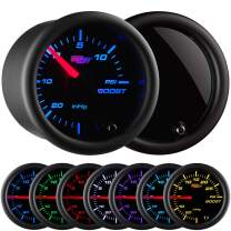"""GlowShift Tinted 7 Color 15 PSI Turbo Boost/Vacuum Gauge Kit - Includes Mechanical Hose & T-Fitting - Black Dial - Smoked Lens - for Cars - 2-1/16"""" 52mm"""