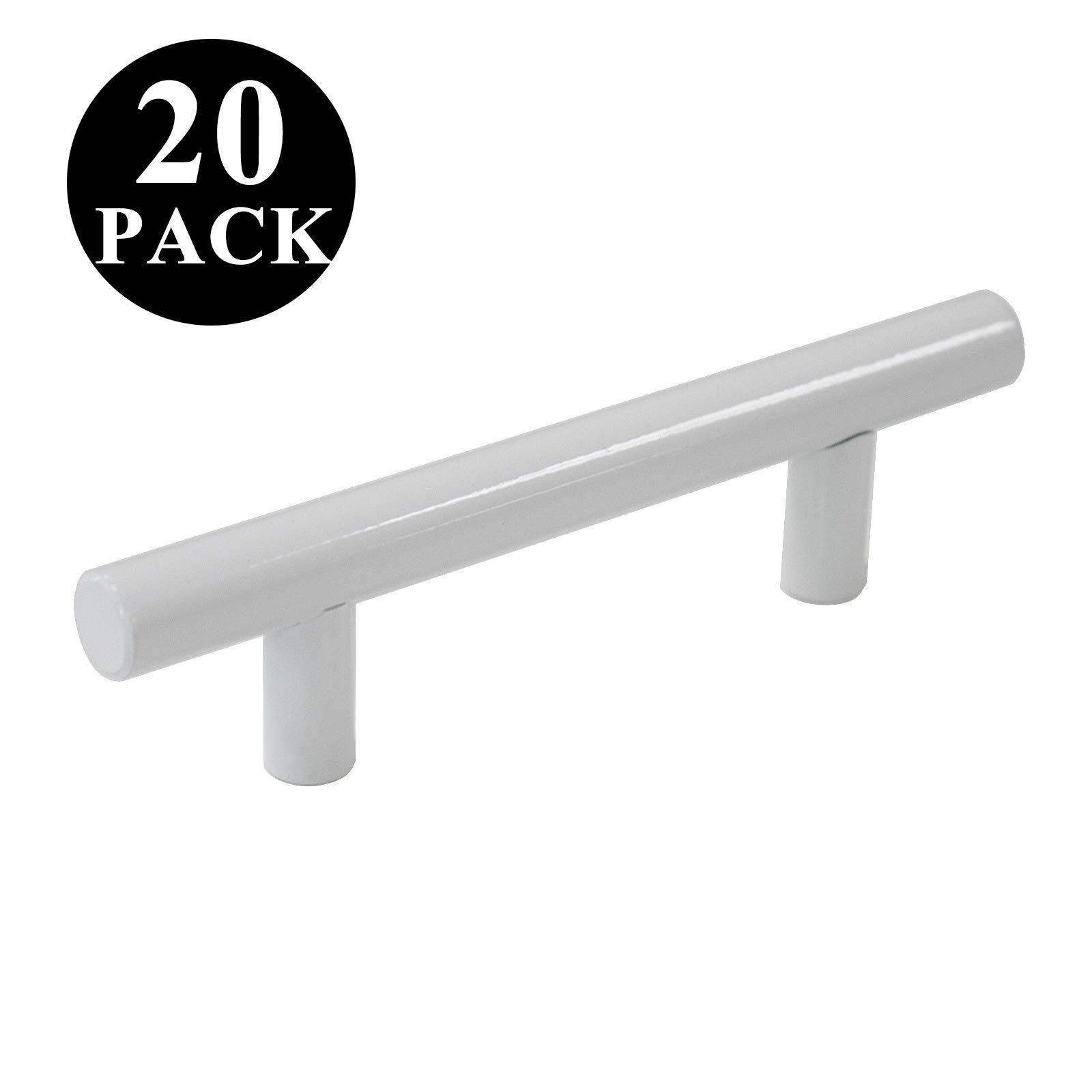 Probrico White Kitchen Cabinet Pulls 3 Inch Euro Style T Bar Handles Cupboard Stainless Steel Modern Cabinet Hardware, 20 Pack