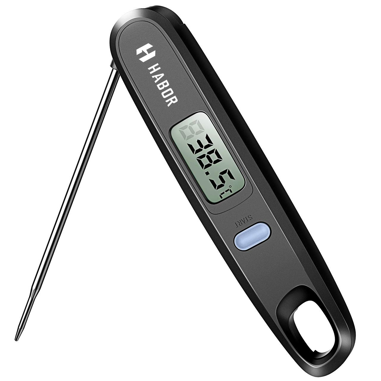 Habor, Digital Cooking Kitchen Thermometer Instant Read Sensor with Foldable Probe for Food Baking Liquid Meat BBQ Grill Smokers, Classic Black