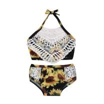 Toddler Baby Girl Swimsuit Sunflower Lace Patchwork Floral Bikini Halter 2 Pieces Swimwear Bathing Suits