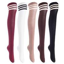 Lian LifeStyle Women's 5 Pairs Knee High Thigh High Cotton Socks Size 6-9 L1022