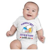 VTH Global Personalized Baby Name Happy 1st First Fathers Day Boy Girl Onesie Bodysuit White