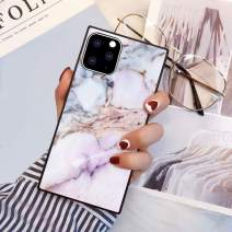 PERRKLD Case Compatible With iPhone 11 Pro Max 2019 6.5 Inch Square Edge Case Heavy Duty Protection Shock Absorption Slim Soft TPU Cover Pink Marble Pattern for iPhone 11 Pro Max 6.5 Inch