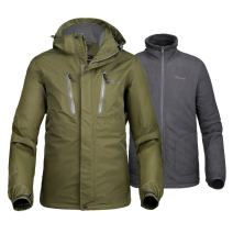 OutdoorMaster Men's 3-in-1 Ski Jacket - Winter Jacket Set with Fleece Liner Jacket & Hooded Waterproof Shell - for Men