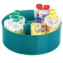 mDesign Plastic Lazy Susan Turntable Storage Tray - Divided Spinning Organizer for Nursery/Kid's Room - Store Lotions, Wipes, Diapers, Baby Shampoo - 5 Sections - Teal Blue