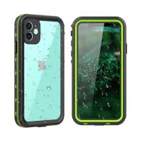 """iPhone 11 Waterproof Case,Clear Full Sealed Support Wireless Charging Rugged Shockproof Dropproof Case IP68 Certified Waterproof for iPhone 11(6.1"""",2019) (Clear+Green)"""