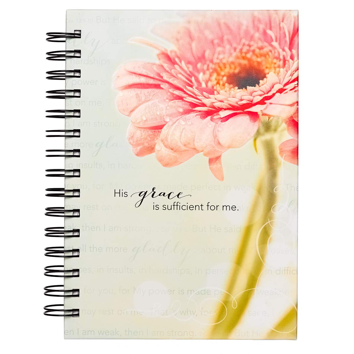 """Christian Art Gifts Large Hardcover Notebook/Journal   Grace is Sufficient – 2 Corinthians 12:9-11 Bible Verse  Pink Daisy Inspirational Wire Bound Spiral Notebook w/192 Lined Pages, 6"""" x 8.25"""""""