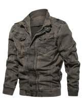 PASOK Men's Military Bomber Jacket Air Force Cargo Jackets Stand Collar Windbreaker Outdoor Coat