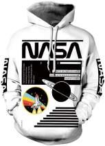 FLYCHEN Men 3D Printed NASA Hoodies Unisex Sweatshirt Hooded Pullover