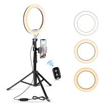 """UBeesize 10.2"""" Selfie Ring Light with Tripod Stand & Cell Phone Holder for Live Stream/Makeup, Mini Led Camera Ringlight for YouTube Video/Photography Compatible with iPhone Android (Upgraded)"""