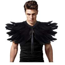 L'VOW Gothic Black Feather Shrug Cape Shawl Halloween Costume for Men