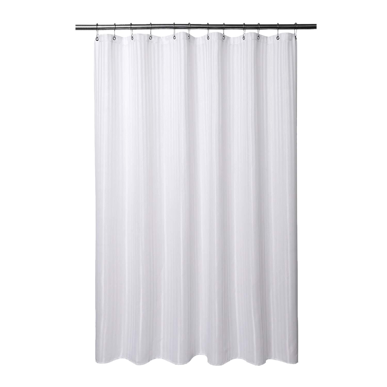 Barossa Design Longer Fabric Shower Curtain with 75 Inches Height - Herringbone & Striped, Hotel Grade, Machine Washable, Water Repellent, 160 GSM Heavyweight, White, 71x75