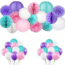 Kalolary Mermaid Party Supplies, 56 PCS Mermaid Birthday Party Decorations, Unicorn Balloons, Tissue Pom Poms, Paper Lantern and Honey Comb Balls Pack   Set for Girls Birthday, Baby Shower