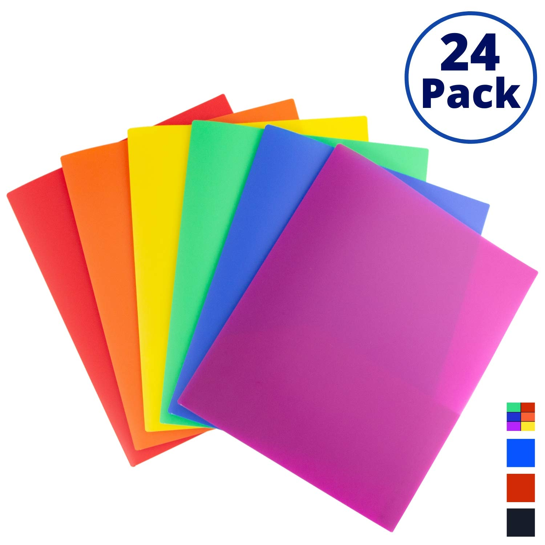 Colored Pocket Folders, 2-Pocket File Folders (24 Pack, Rainbow Colors) School Folders, Plastic Folders with Labels, Two Pocket Folders, Letter Size File Folders with Pockets, Neon File Folders