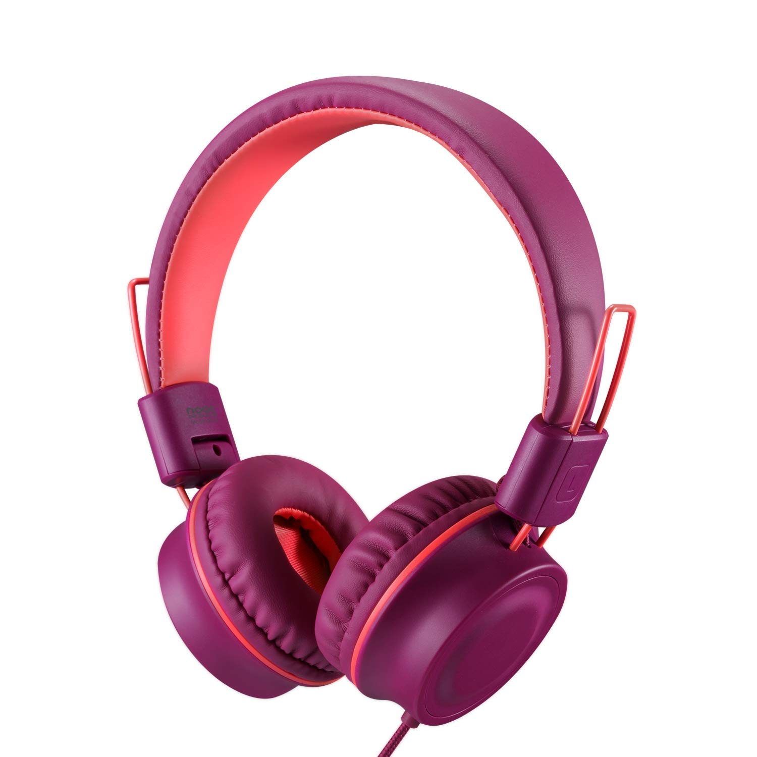 Kids Headphones-noot products K33 Foldable Stereo Tangle-Free 3.5mm Jack Wired Cord On-Ear Headset for Children/Teens/Boys/Girls/Smartphones/School/Kindle/Airplane Travel/Plane/Table(Plum)