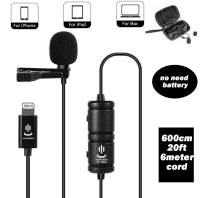Lavalier Microphone for iPhone 11 Pro 10 X Xs Xr max 8 7 iPad Mini iPod,Lapel Mic Omnidirectional Condenser No Battery Required for YouTube Interview Vlog Facebook Live Talk Online Voice Recording