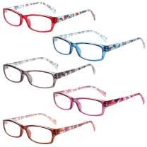 5-Pack Reading Glasses Blue Light Blocking Anti Eyestrain Computer Reading Glasses for Women and Men Readers