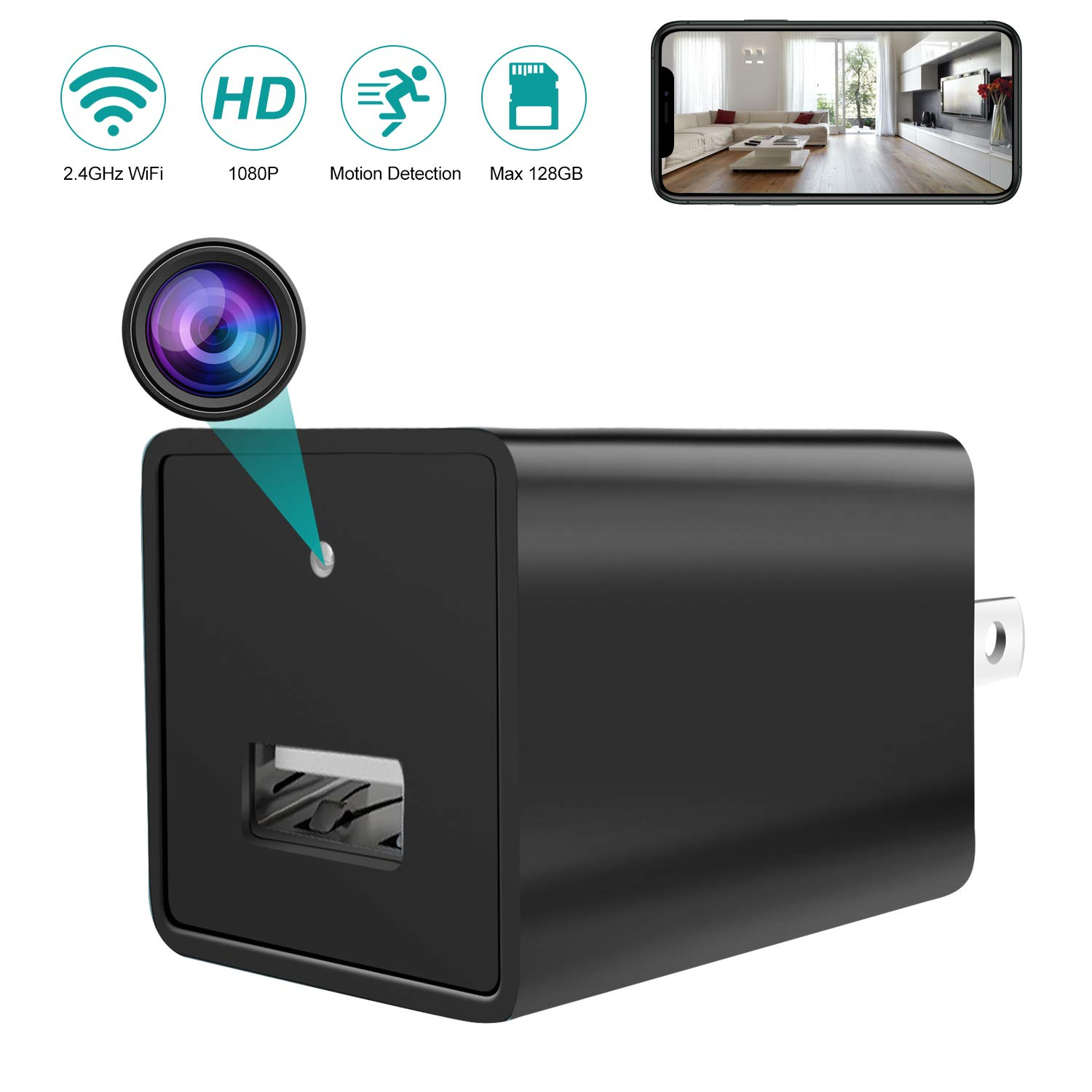 Spy Camera Wireless Hidden WiFi Camera with 32GB SD Card HD 1080P USB Charger Hidden Spy Security Camera Nanny Cam with Motion Detection for Home Office