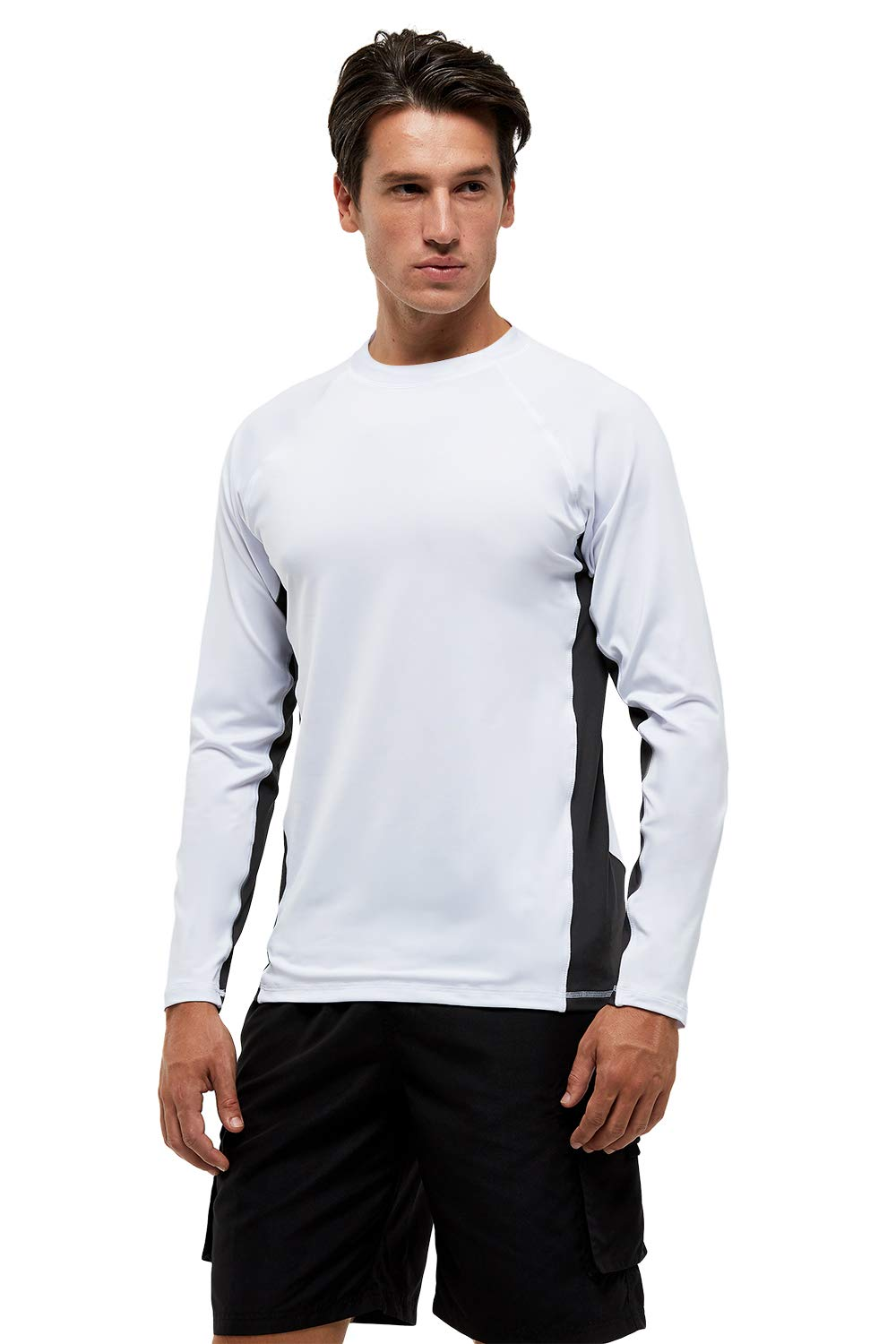 Mens Swim Shirts UPF 50+ UV Sun Protection Rashguard Long Sleeve Outdoor Dri-fit T-Shirt for Running,Fishing,Hiking,Workout