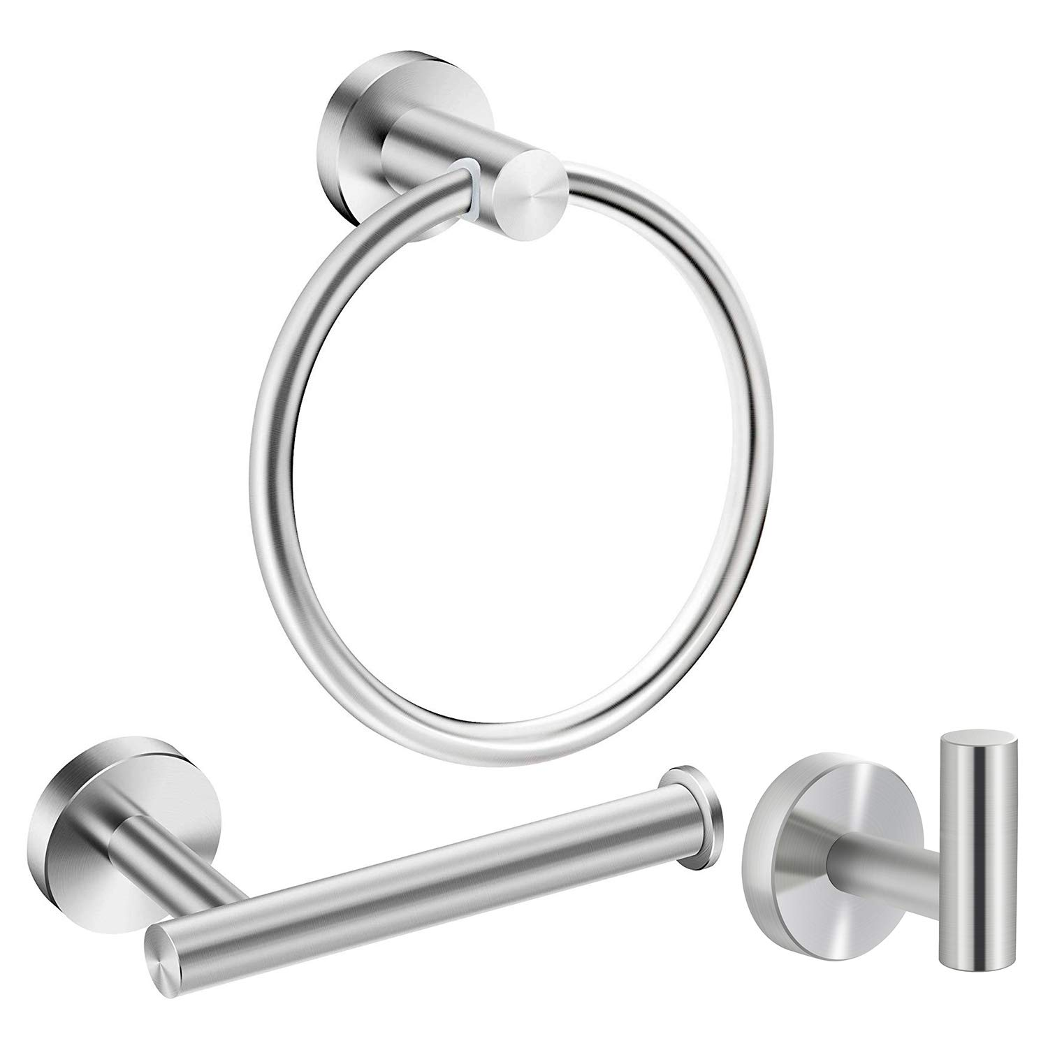 Marmolux Acc Bathroom Hardware Accessories Set Stainless Steel Brushed 3- Piece Set Includes Hand Towel Ring, Toilet Paper Holder, Robe Hook Heavy Duty Paper Towel Holder Hanger