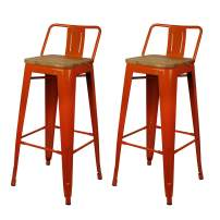 GIA Design Group 30 Inch Low Back Bar Stool Chair with Wood Seat, Orange – Set of 2