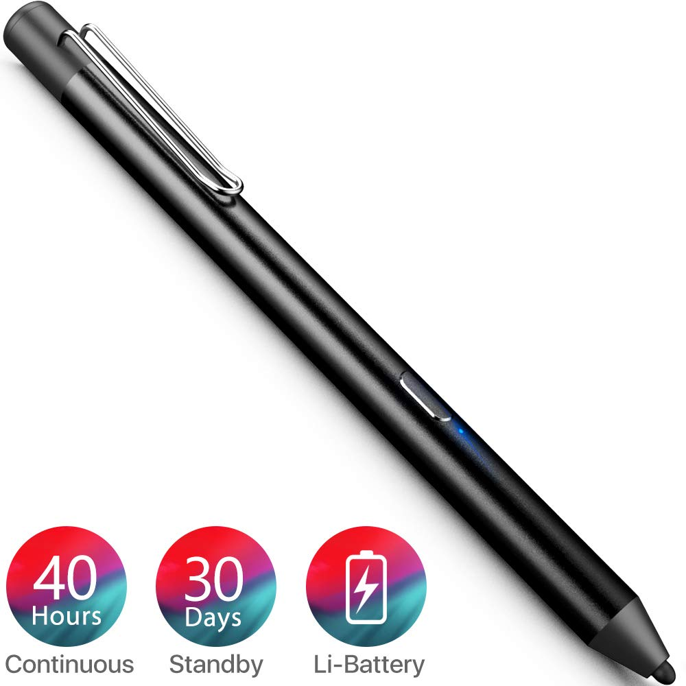 Heiyo Active Stylus Pen, Auto Power Off Rechargeable Capacitive Digital Pen for iPad, Support 30-Days Standby & 40-Hours Using Time Digital Pen for Drawing Compatible with iPad Series (Black)